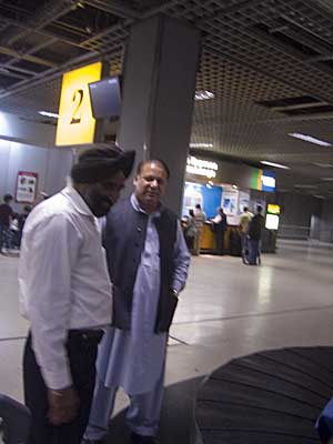 Nawaz Sharif at Heathrow