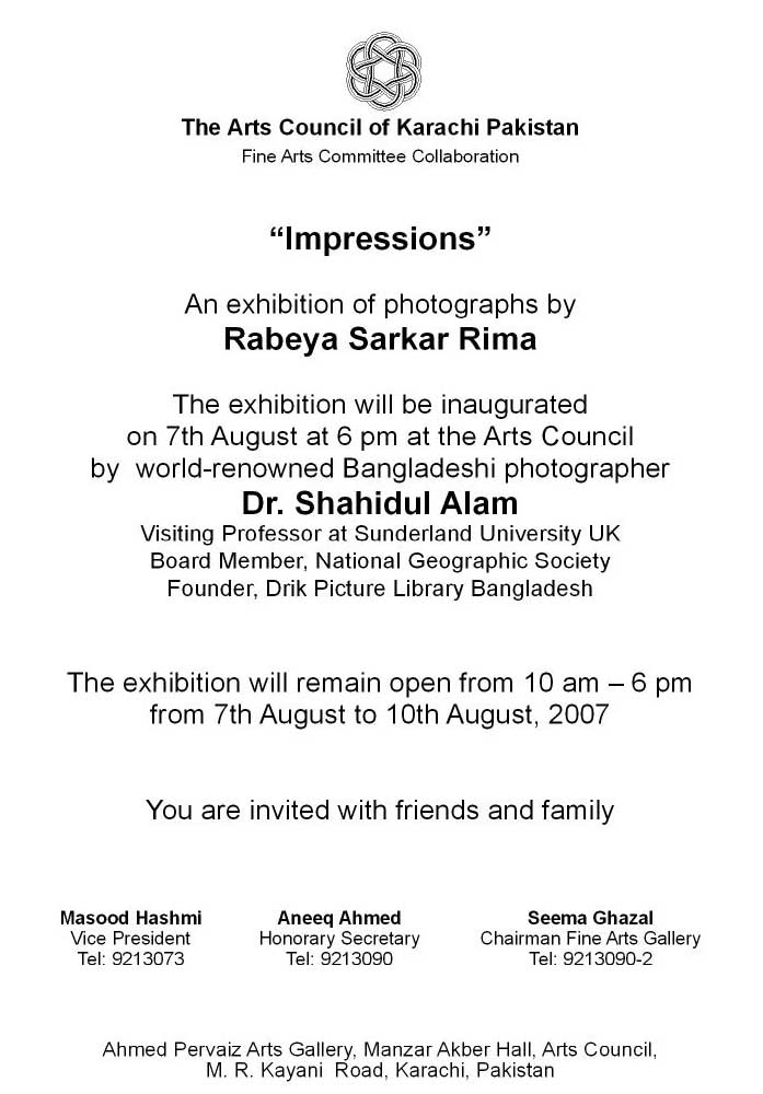 Sample Invitation Letter Art Exhibition. rabeya exhibition invitation text jpg News Archives  ShahidulNews