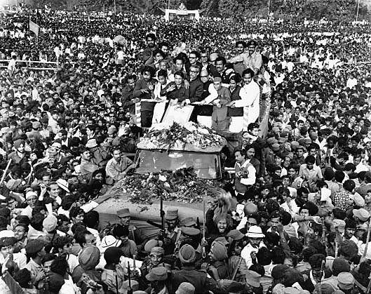 Sheikh Mujibur Rahman on his return to Bangladesh from Pakistan on the 10th January 1972. Rashid Talukder/Drik/Majority World