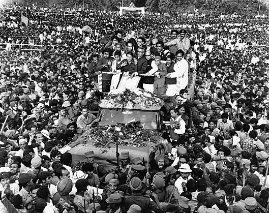 Sheikh Mujibur Rahman on his return to Bangladesh from Pakistan on the 10th January 1972. Rashid Talukder/Drik/Majority World