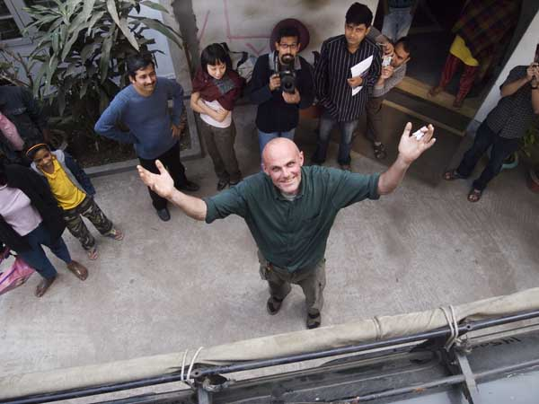 Looking down at the tall Norwegian. From left to right in the background Reza, Jessica, Shehab, Mahbub, Irfan. Drik. Dhaka. 17th. Shahidul Alam/Drik/Majority World