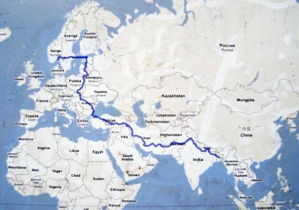 The route taken by Tom Hatlestad. Shahidul Alam/Drik/Majority World