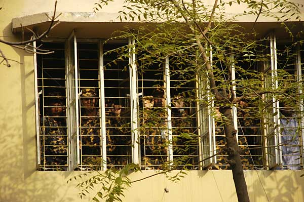 BDR solders are locked inside the BDR headquarters bereq and hospital after they surrendered. Till now there are total 67 dead bodies found from the BDR headquarters and outside areas. Dhaka, Bangladesh. February 27 2009