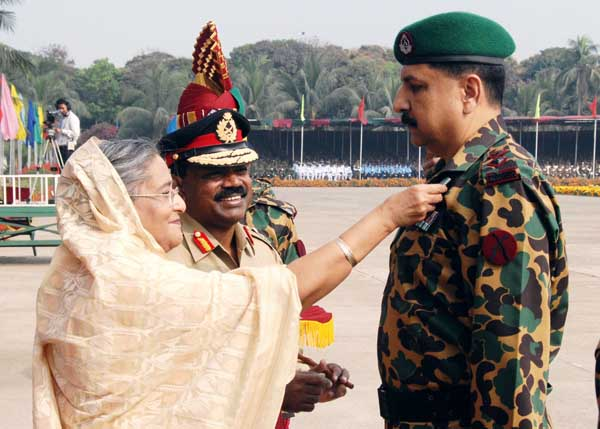 Before hell broke loose. Prime Minister Sheikh Hasina awarding the Bangladesh Rifles Padak and President Rifles Padak to the BDR personnel for their gallantry in performance at BDR Headquarters at Pilkhana in the city. Dhaka, Bangladesh. February 24 2009. Zaman/DrikNews