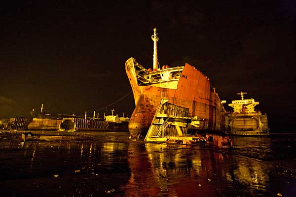 UMA, a ship formerly owned by the Norwegian company Odfjell, is beached at Royal Ship Yard in Chittagong.