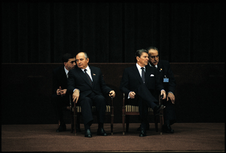Mikhail Gorbachev and Ronald Reagan at Geneva Summit 1984 David Burnett/Contact Press Images