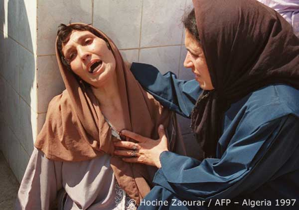An Algerian woman grieving for her brother. Hocine/AFP