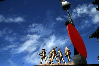 Protyasha', a memorial sculpture of the 'Freedom Fighters' of 1971 Liberation War, created by Mrinal Haque, near Bango Bazaar, in Dhaka, Bangladesh. August 1, 2008.