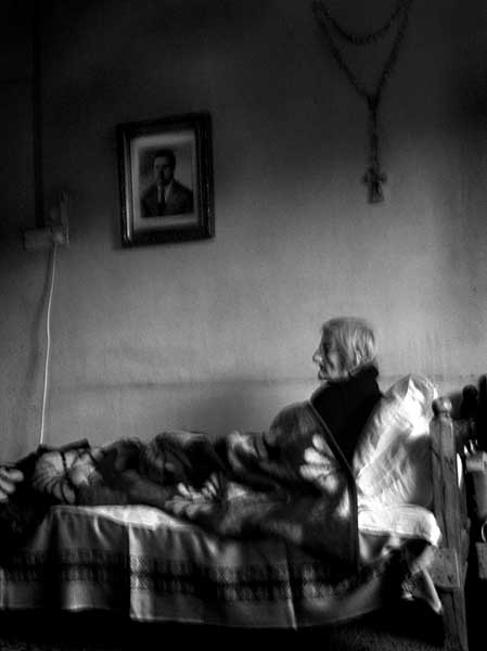 Angel is 85. She never married. She raised her brother's children from when they were small. Recently she fell and broke her hip - Angel has been abandoned and he misses them - she gazes into emptiness all day long.