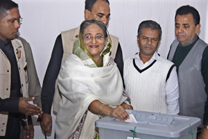 Hasina casting her vote. Munira Morshed Munni