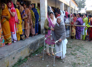 Old woman at voting centre. Firoz Gazi