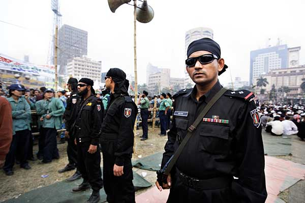 Rapid Action Battalion (RAB) was part of the security team at Paltan during the pre-election rallies. RAB is believed to have been responsible for over 300 extra judicial killings over the last two and a half years. Dhaka. Bangladesh. ? Shahidul Alam/Drik/Majority World