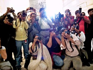 Press at opening of Phase II of Chobi Mela V. Shilpakala Academy. Dhaka. Bangladesh. Shahidul Alam/Drik/Majority World